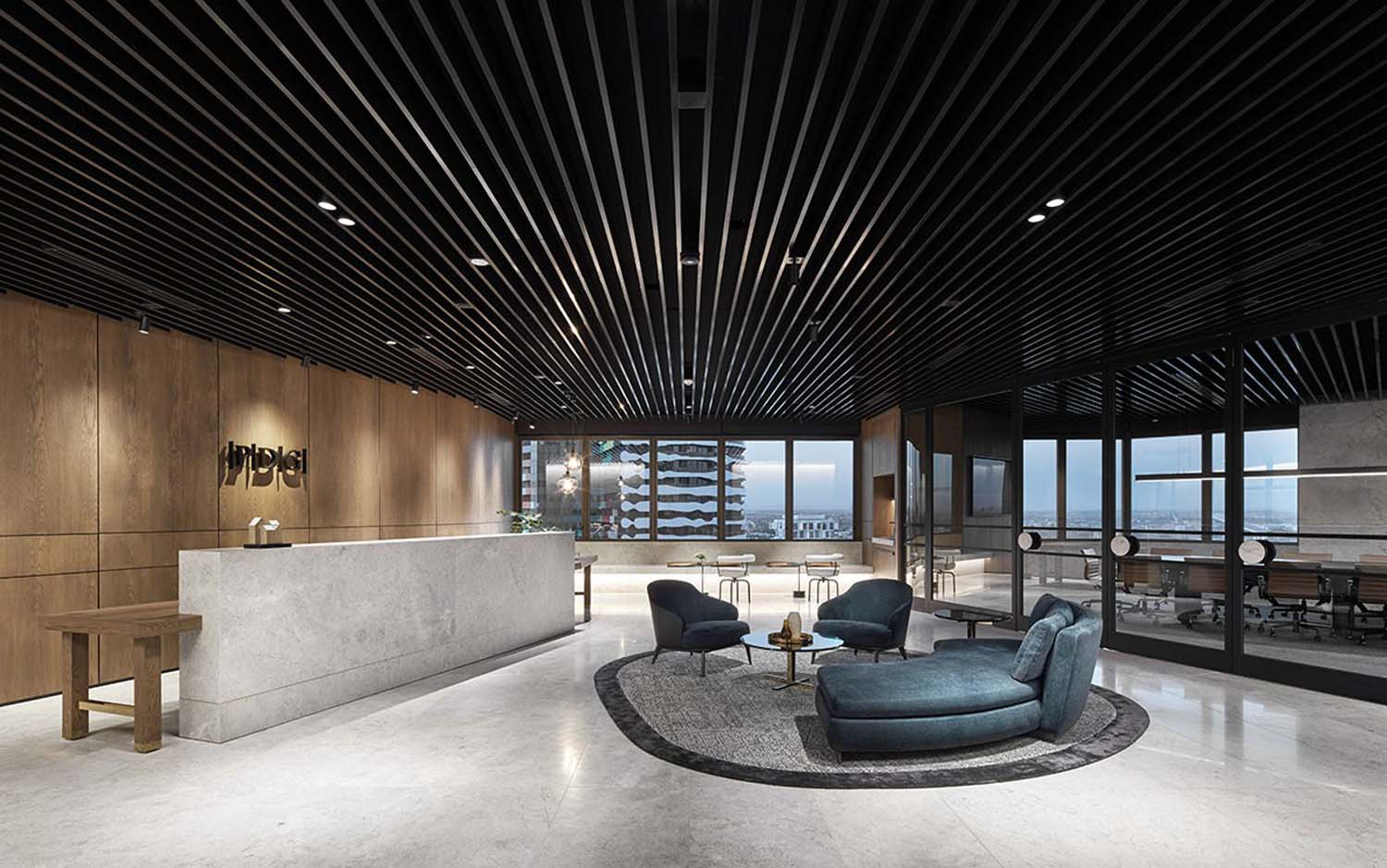 minimal commercial tower lobby space