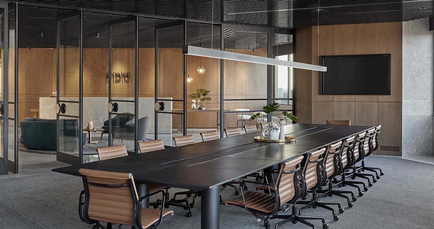 minimal commercial tower conference room